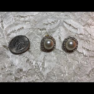 Claire's Pearl with White Rhinestone Earrings